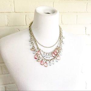 LOFT multistrand beaded pink blue silver necklace